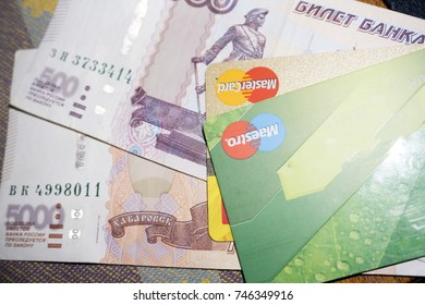 Russian money and credit cards , Russia Berezniki 28 Aug 2017