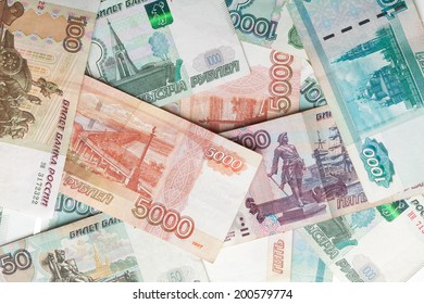 Russian money detailed background. Rubles banknotes closeup texture