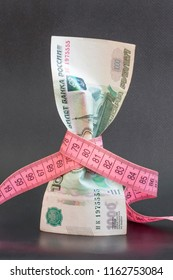 Russian money One thousand rubles with measuring tape. Economy of Russia is falling and currency of country is depreciating. Concept of inflation, default
