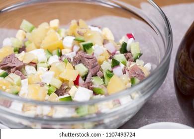 Russian national dish - okroshka. Ingredients for preparing the cold soup okroshka, russian food