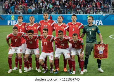 Russian national football team before the match against Egypt at FIFA World Cup 2018. 19th 2018, Saint-Petersburg Stadium.