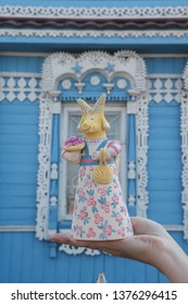 """Russian national handcraft, old """"Voronezh"""" clay toy: goat in russian style"""