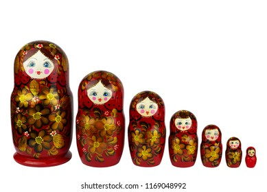 Russian national toy nesting doll, hand made of wood