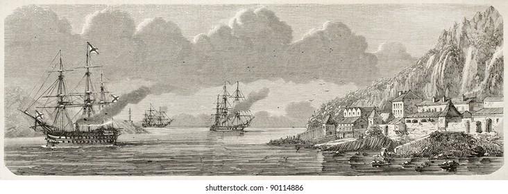 Russian naval group entering Villafranca seaport. Created by Lebreton, published on L'Illustration, Journal Universel, Paris, 1858