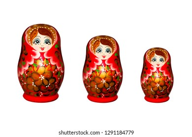Russian nesting doll isolated on white background.