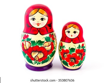 Russian nesting dolls. Babushkas or matryoshkas. Set of 2 pieces.