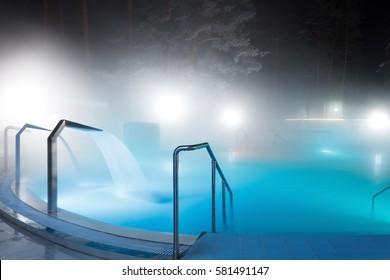 Russian original natural thermal spa, outdoor.