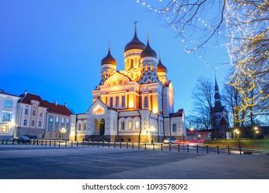 Russian Orthodox Alexander Nevsky Cathedral and Christmass illuminated at night, Tallinn, Estonia