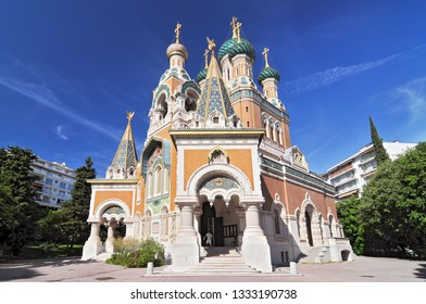 The Russian Orthodox Cathedral in Nice. Cathedrale Orthodoxe Russe Saint Nicolas de Nice.