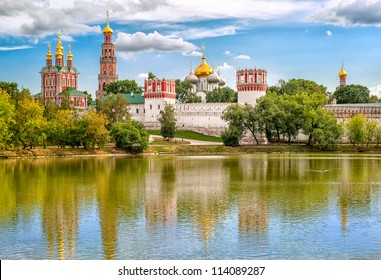 Russian orthodox churches in Novodevichy Convent monastery, Moscow, Russia, UNESCO world heritage site