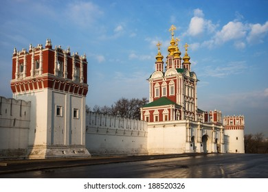Russian orthodox churches in Novodevichy Convent monastery, Moscow, Russia.