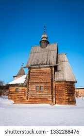 Russian Orthodox wooden church in winter