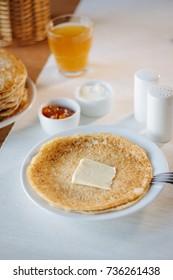 Russian pancakes - vegetarian dish at national restaurant.