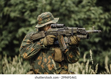 russian paratrooper airborne infantry in the forest
