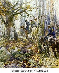 """Russian partisans in the woods -  illustration by artist A.P. Apsit from book """"Leo Tolstoy """"War and world"""", publisher - """"Partnership Sytin"""", Moscow, Russia, 1914."""