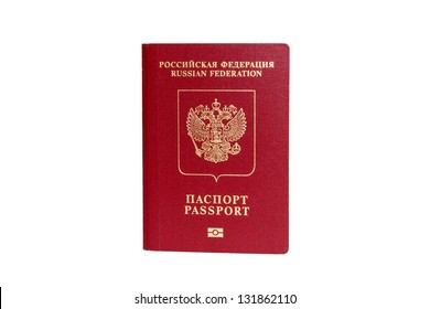 Russian passport isolated on white with clipping path
