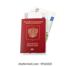 Russian passport and money