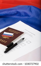 Russian passport on a approximate sample of ballot paper for presidential elections. Translation - Russian Federation. And on the paper - ballot paper for presidential elections in Russia. Closeup