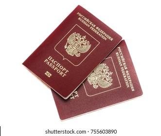 Russian passport on white background