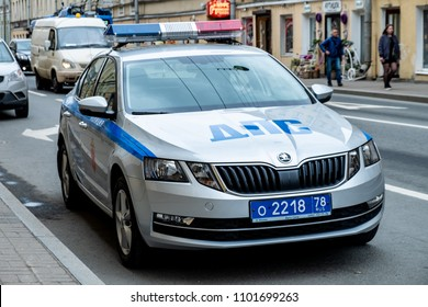 Russian Police car parked on street Saint-Petersburg, Russia. May, 05, 2018