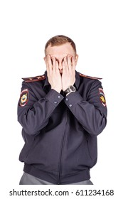 Russian policeman wearing original uniform  presenting and showing something on white background. law, emotion and people concept