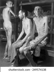 Russian, Polish, and Dutch slave laborers at Buchenwald concentration camp. April 16, 1945.