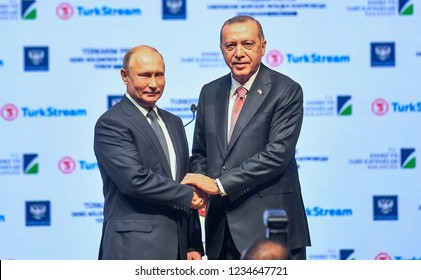 Russian President Vladimir Putin and President of Turkey Recep Tayyip Erdogan, Turkey made the opening of the Natural Gas Pipeline( turkstream) 19 NOVEMBER 2018 istanbul at Turkey
