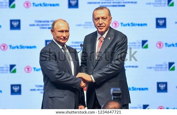 Russian President Vladimir Putin and President of Turkey Recep Tayyip Erdogan, Turkey made the opening of the Natural Gas Pipeline( turkstream) 19 NOVEMBER 2018 istanbul at Turkey