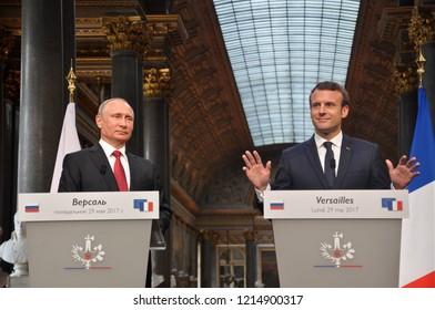 Russian President Vladimir Putin visits French President Emmanuel Macron in Paris.  Chateau de Versailles, Paris, France (May 29, 2017)