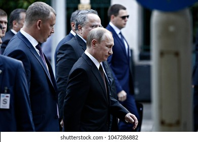 Russian President Vladimir Putin walks from the Presidential Mansion to the Maximos Mansion, Athens, Greece on May 27, 2016.