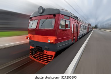 Russian Railways old electric train with motion blur