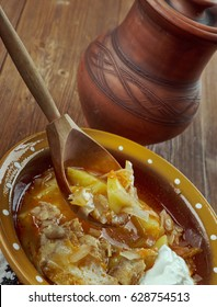 Russian real Rustic  cabbage soup shchi