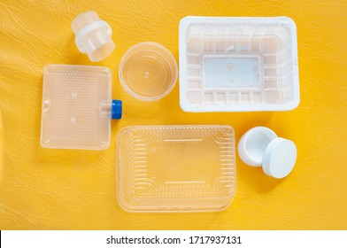 Russian recycle packaging Polypropylene PP 5 on a yellow background
