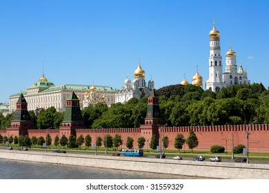 Russian red Kremlin view at day with river