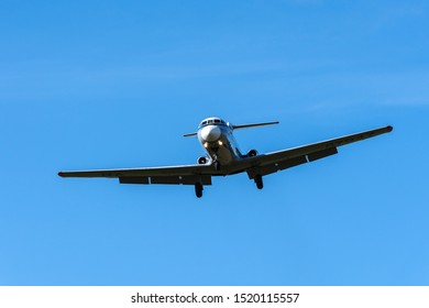 Russian regional jet Yakovlev Yak-40K - three-engined jet airliner, passenger commuter trijet in flight against blue sky in cloudless weather. Tail number RA-87947. Kamchatka, Russia - Sep 13, 2019