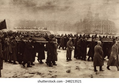 Russian Revolution. Funeral of 182 persons killed by Czarist police on Feb. 26, 1917. They were buried in the Petrograd field of Mars.