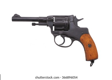 """Russian revolver """"Nagant M1895"""" (example of 1913). Period of WWI. Path on the white background."""