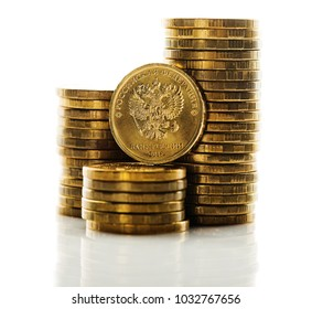 The Russian rouble coin and gold coins