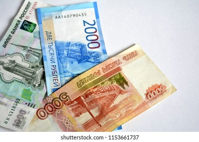 Russian ruble banknotes on white background