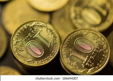 Russian ruble coins background