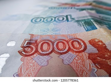 Russian Ruble currency, financial and wealthy concepts. Time to pay taxes.  Banknotes of 5000 and 1000 rubles