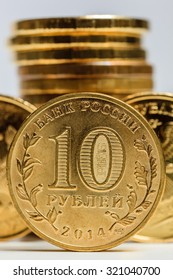 Russian ruble macro. Stack of coins on the background