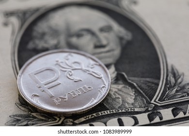 Russian Ruble and US Dollar, close-up