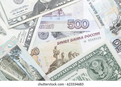 Russian ruble and US Dollar notes