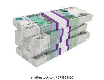 Russian rubles bills packs on stack, illustration on white background