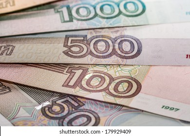 Russian rubles bills, super macro