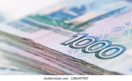 Russian rubles, closeup macro one thousand rubles banknotes