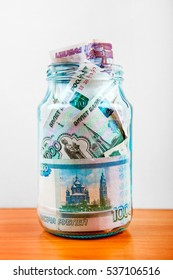 Russian Rubles in the Jar on the Table