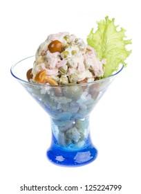 Russian salad Olivier with mushroom