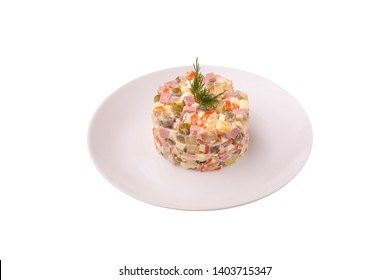 Russian salad on the white background